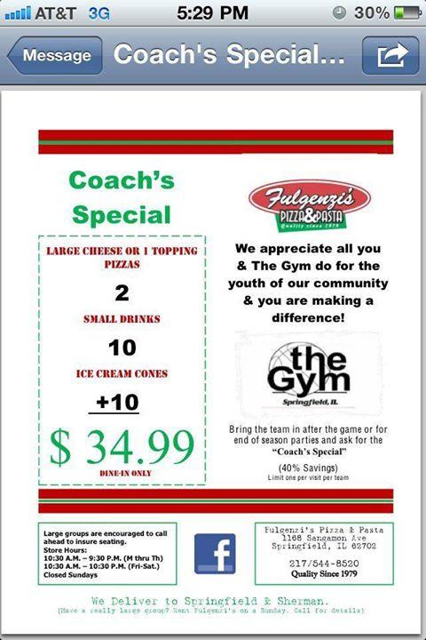 Coach's Special - Fulgenzi's Pizza & Pasta